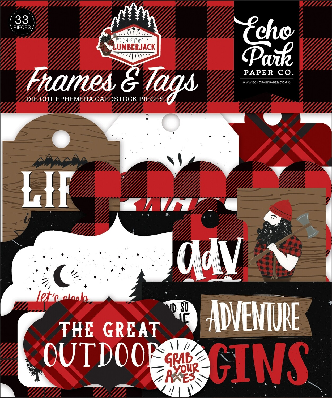 Echo Park Cardstock Ephemera 33/Pkg Frames & Tags, Let's Lumberjack