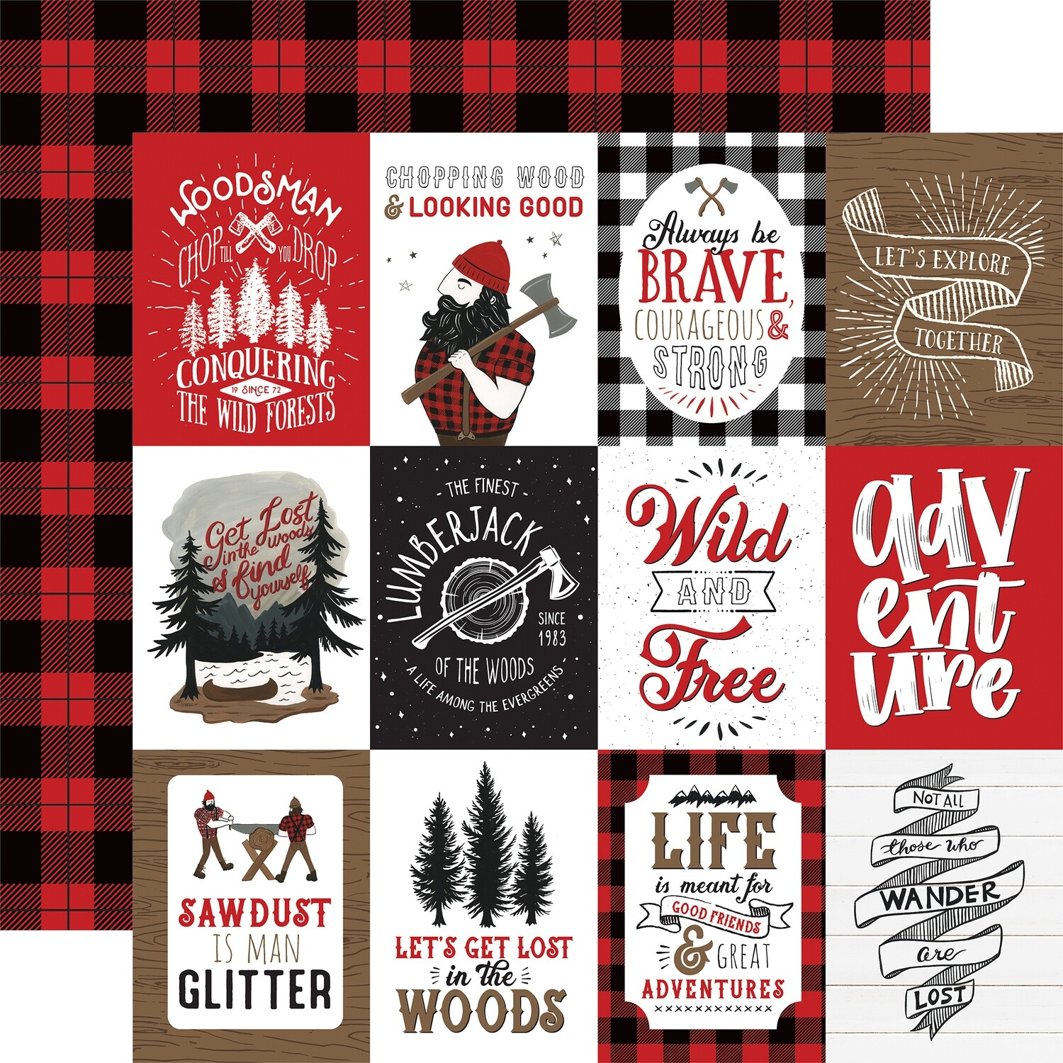 """Let's Lumberjack Double-Sided Cardstock 12""""X12"""" 3""""X4"""" Journaling Cards"""
