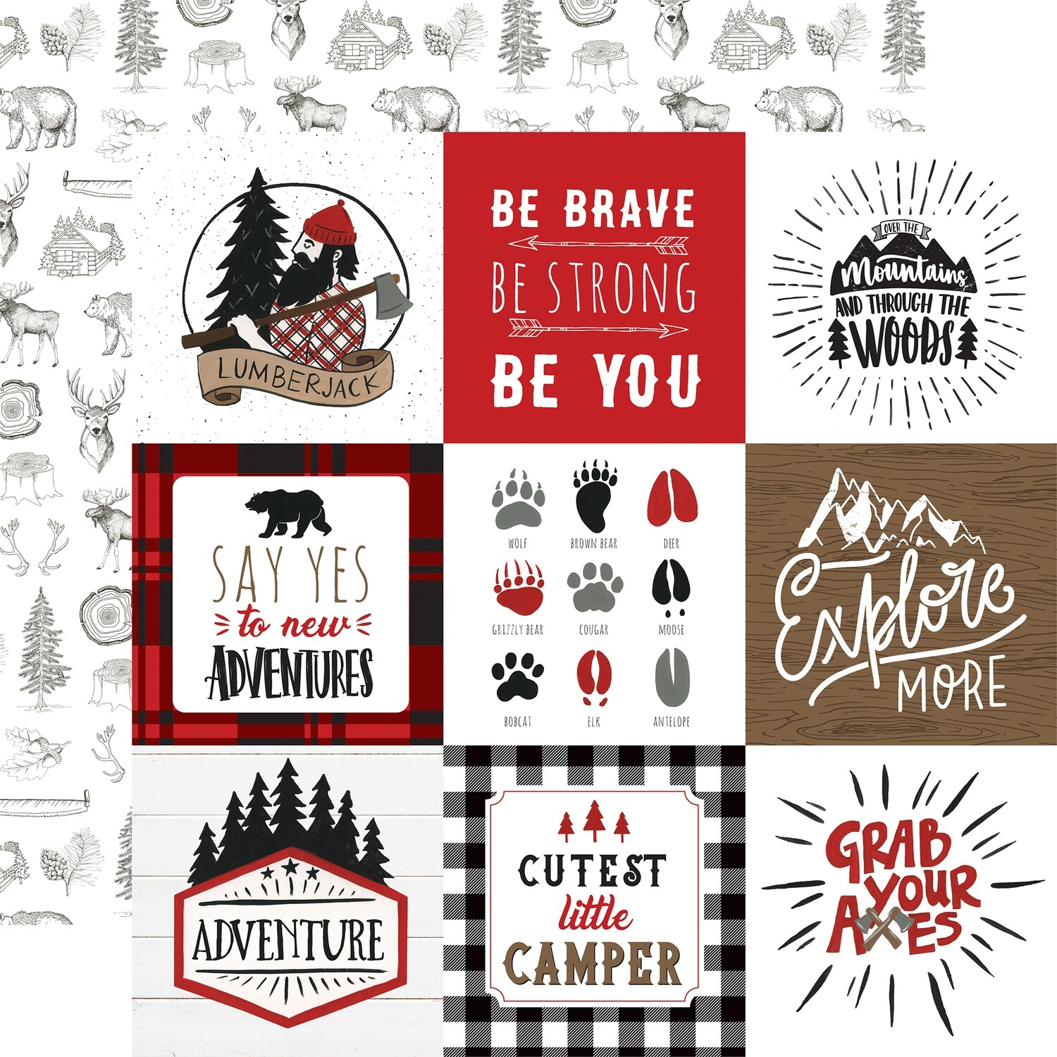 """Echo Park Let's Lumberjack Double-Sided Cardstock 12""""X12"""" 4""""X4"""" Journaling Cards"""
