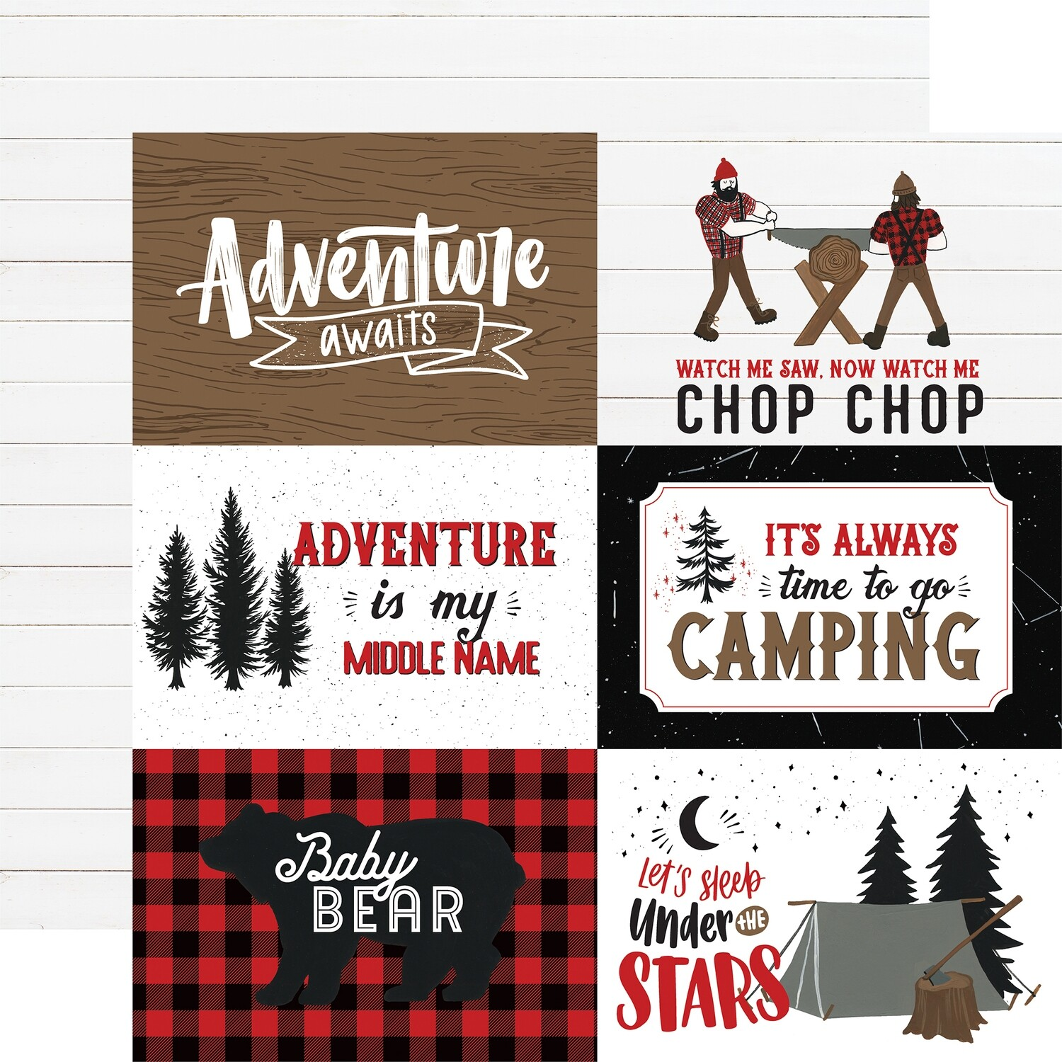 """Let's Lumberjack Double-Sided Cardstock 12""""X12"""" 4""""X6"""" Journaling Cards"""