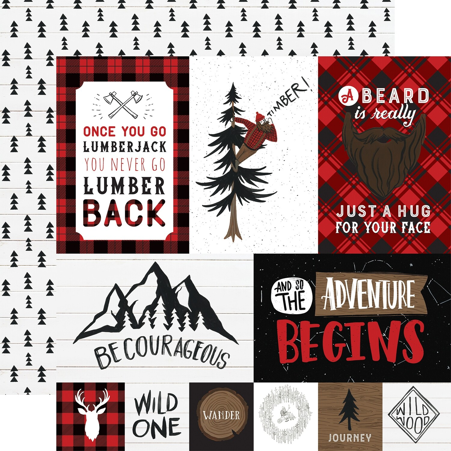 "Echo Park Let's Lumberjack Double-Sided Cardstock 12""X12"" Multi Journaling Cards"