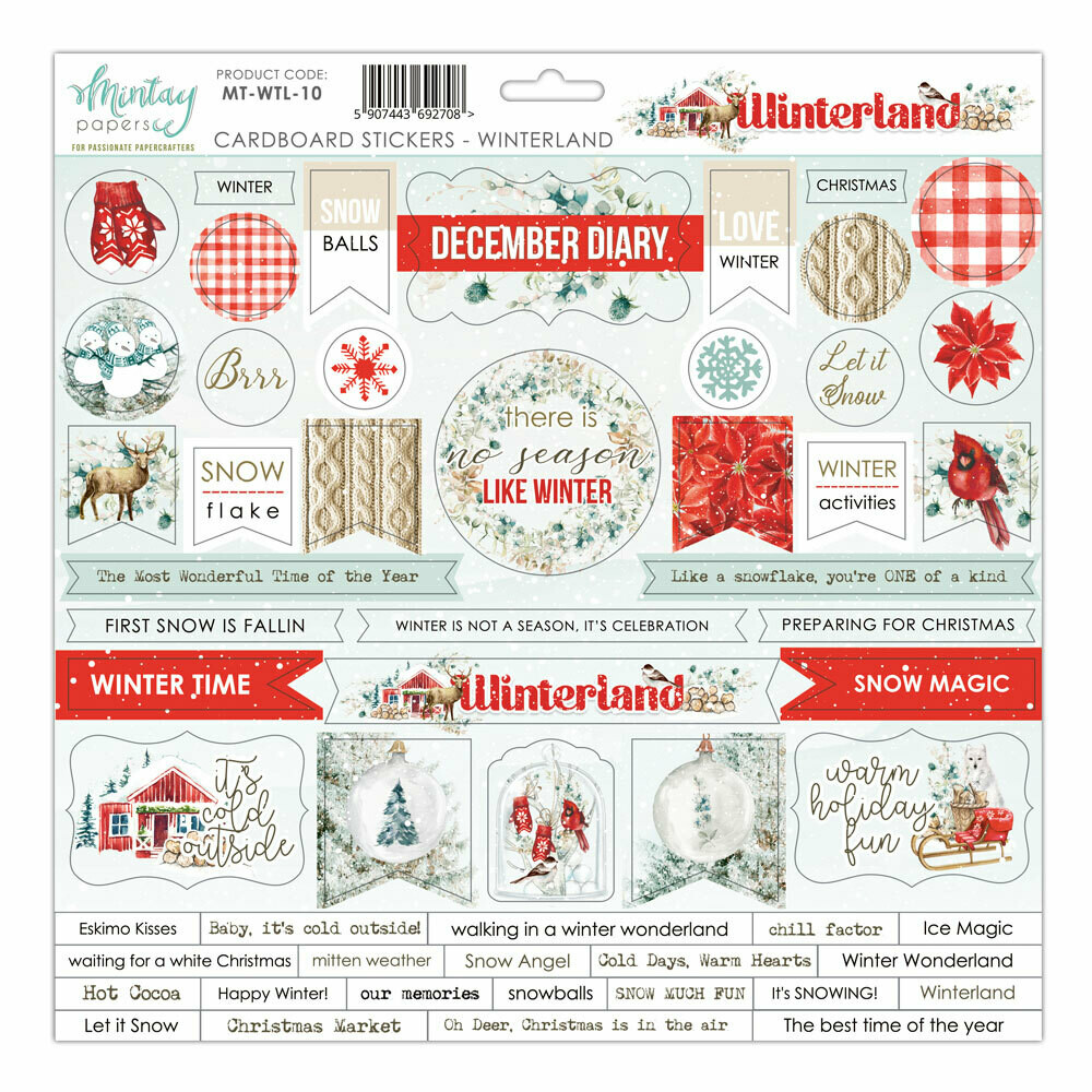 Mintay Papers WINTERLAND chipboard sticker sheet 12 x 12