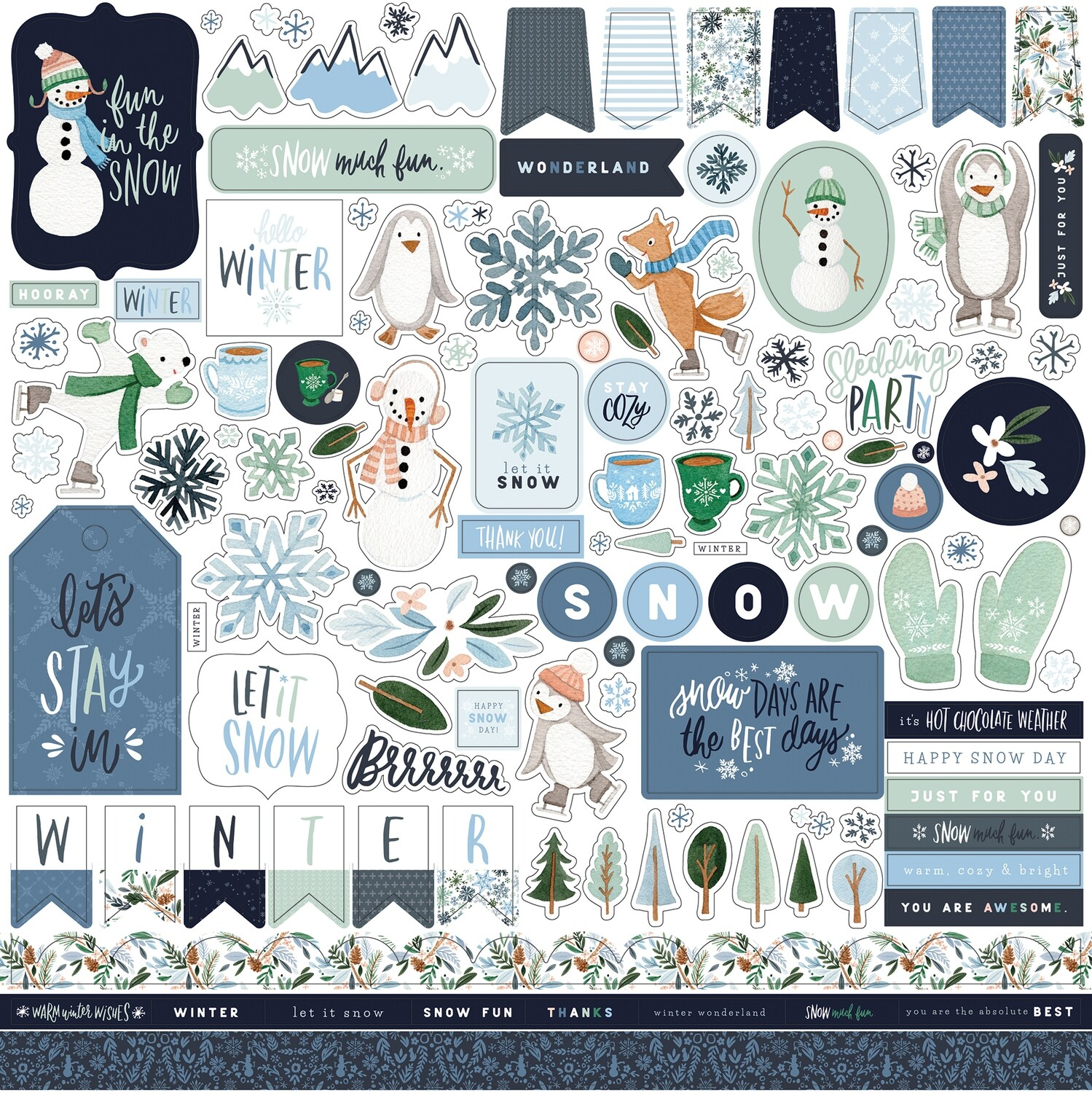 "Winter Market by Carta bella 12""X12"" Elements sticker sheet"