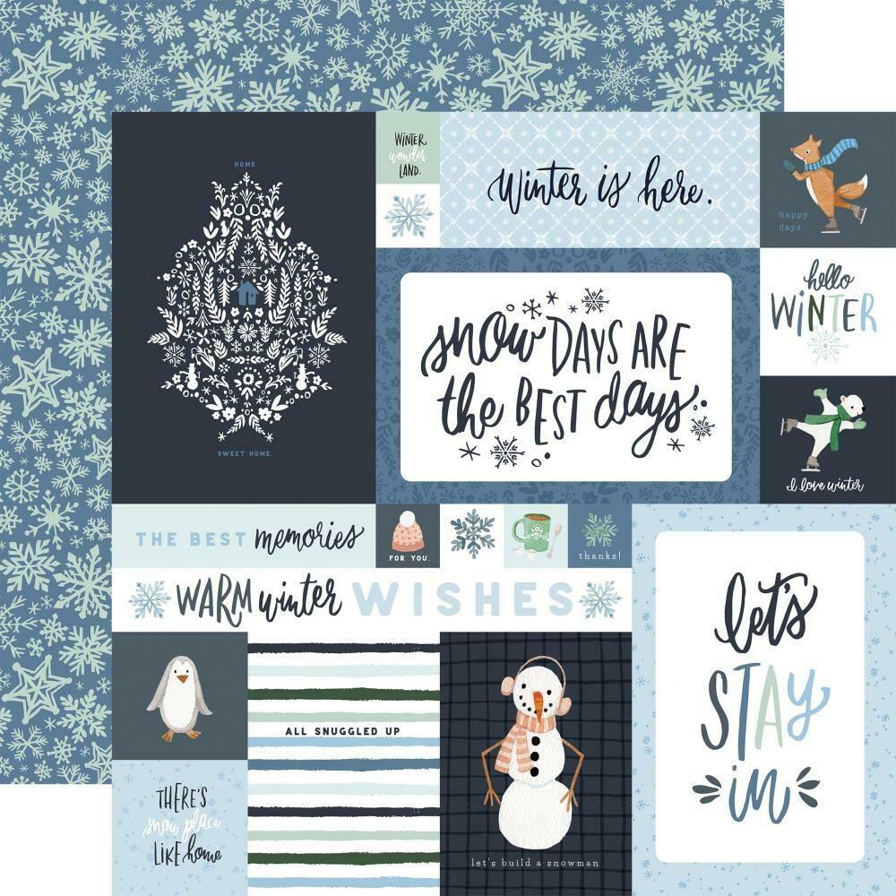 """Carta Bella Winter Market-4""""X6"""" Journaling Cards- 12""""X12"""" sheet"""