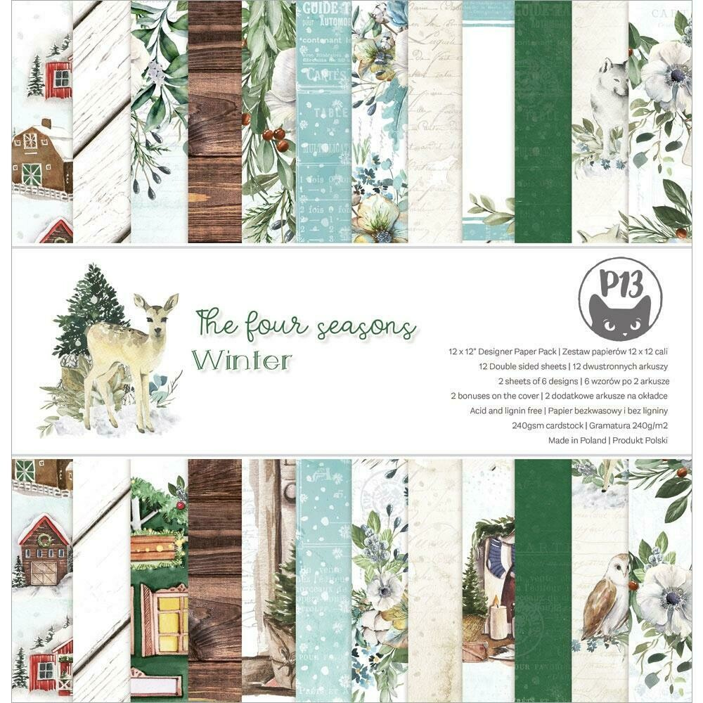 """P13 Double-Sided Paper Pad 12""""X12"""" 12/Pkg The Four Seasons-Winter"""