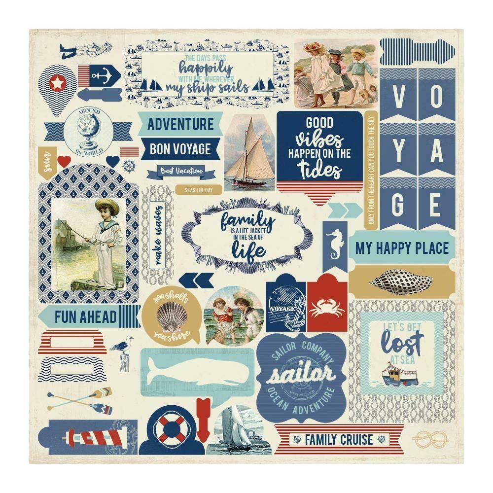 "Authentique Voyage Cardstock Stickers 12""X12"" Details"