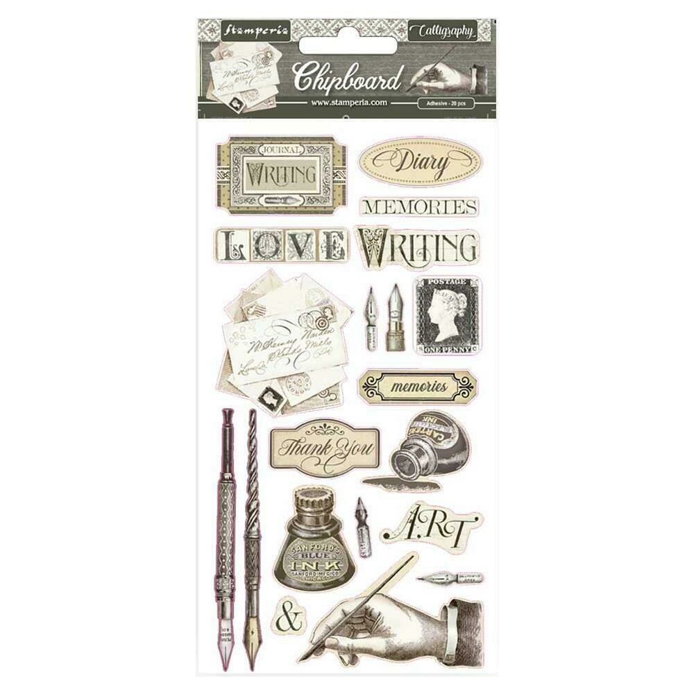 """Stamperia Adhesive Chipboard 6""""X12"""" Calligraphy"""