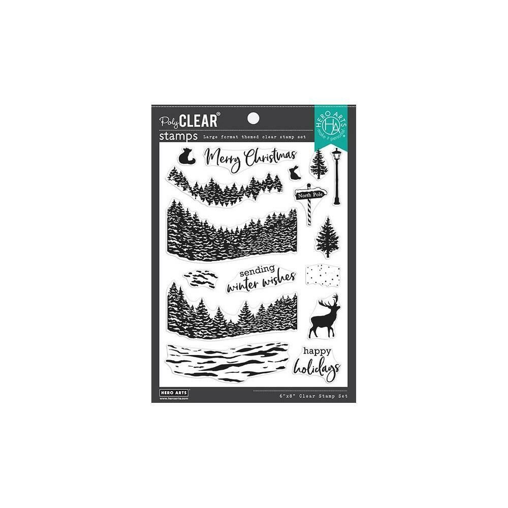 "Hero Arts Clear Stamps 6""X8"" Winter Woods HeroScape"