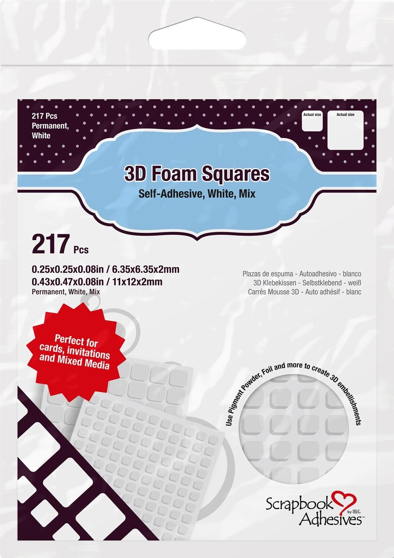 Scrapbook Adhesives - 3D Foam Squares White 217 Multi Pack