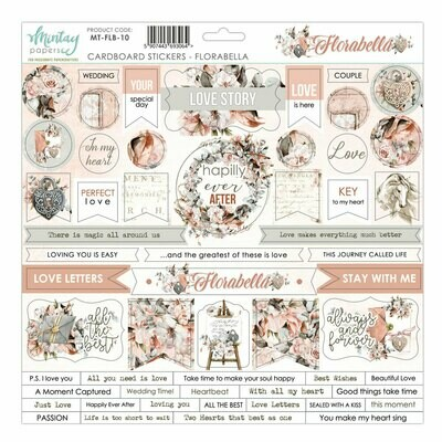 Mintay Papers Florabella 12 x 12 chipboard sticker sheet