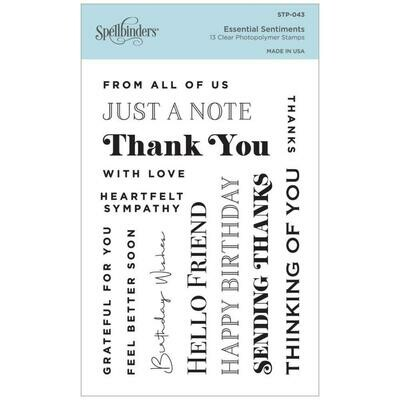 Spellbinders Clear Acrylic Stamps Essential Sentiments