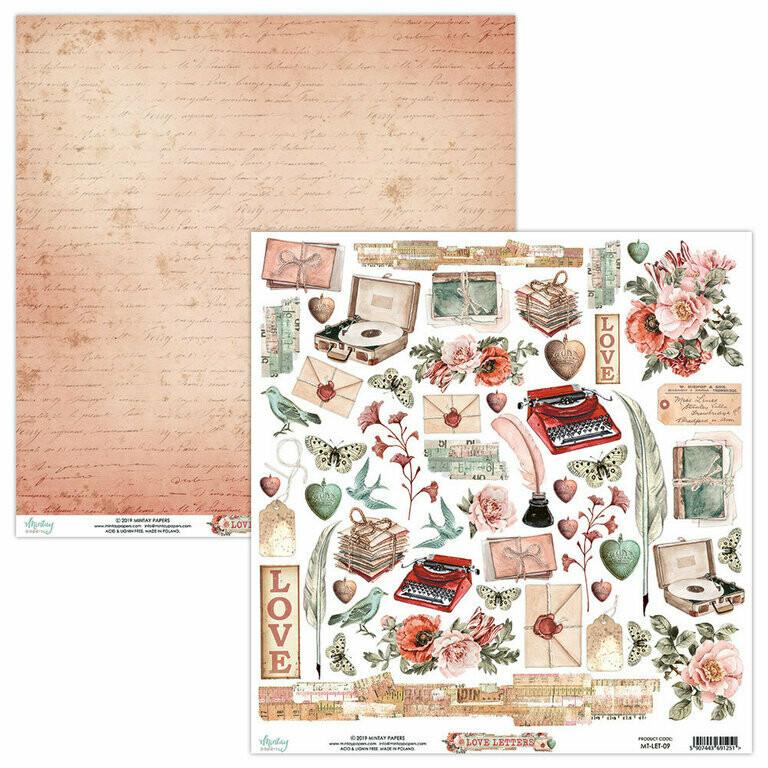 Mintay 12x12 Paper Sheet Love Letters Elements #09
