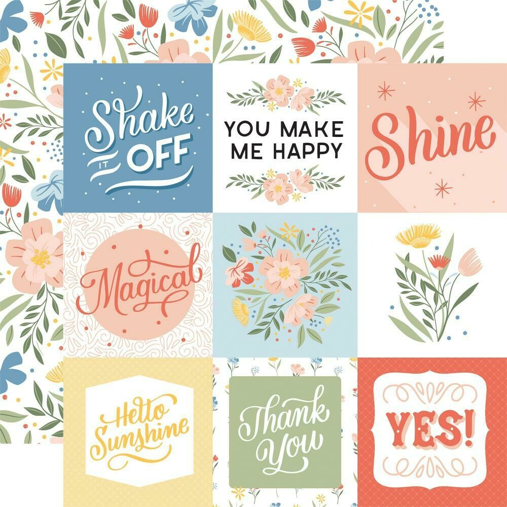 """Salutations No. 1 Double-Sided Cardstock 12""""X12"""" 4""""X4"""" Journaling Cards"""