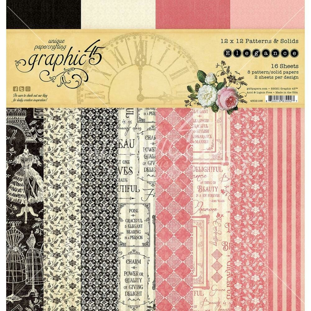 """Graphic 45 Double-Sided Paper Pad 12""""X12"""" 16/Pkg Elegance"""