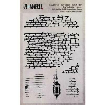 "49 And Market Clear Stamps 4""X6"" Gabi's Line Stitch"