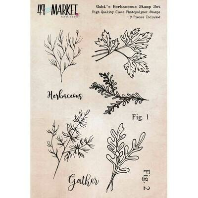 """49 And Market Clear Stamps 4""""X6"""" Gabi's Herbacious Stamp Set"""