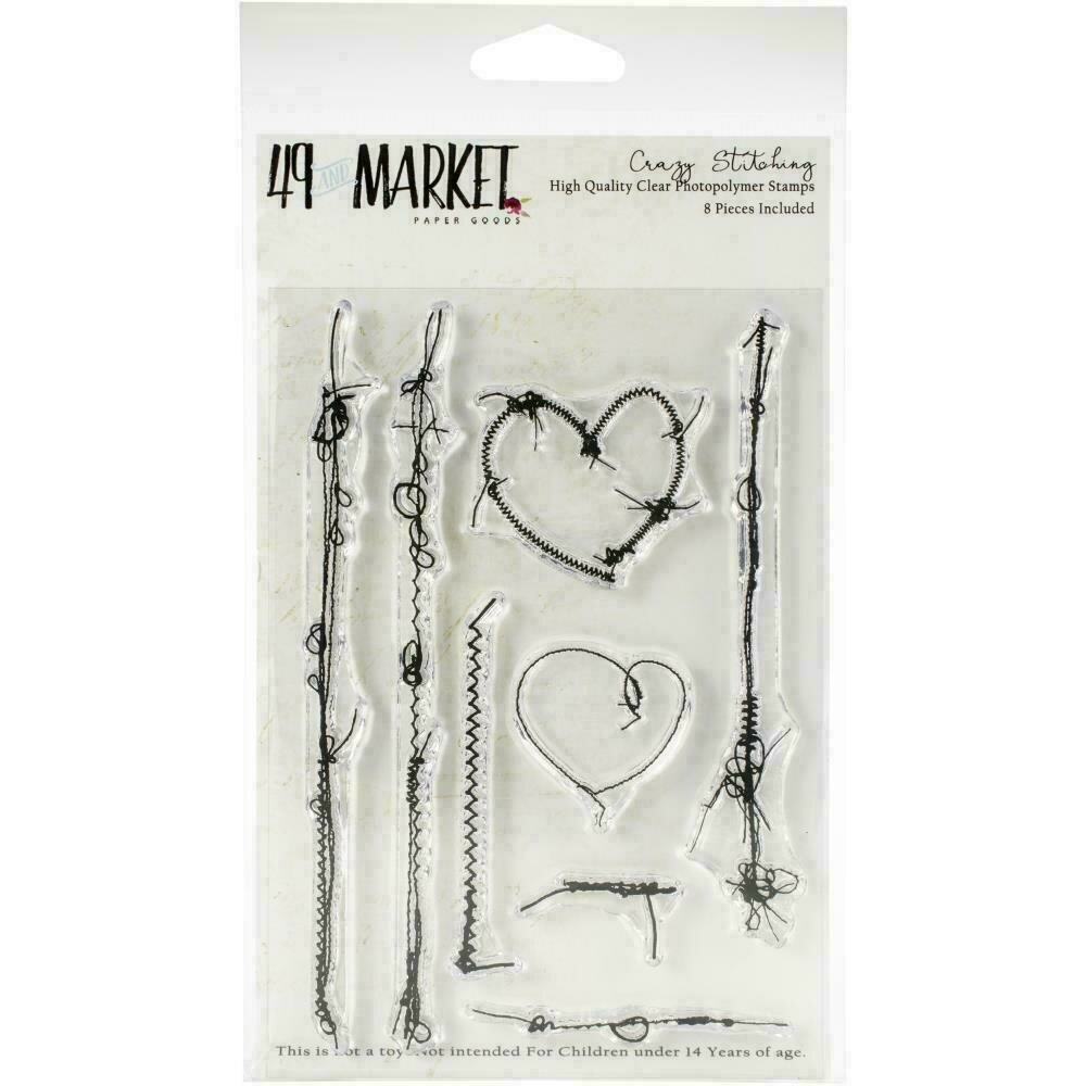 """49 And Market Clear Stamps 4""""X6"""" Crazy Stitching"""