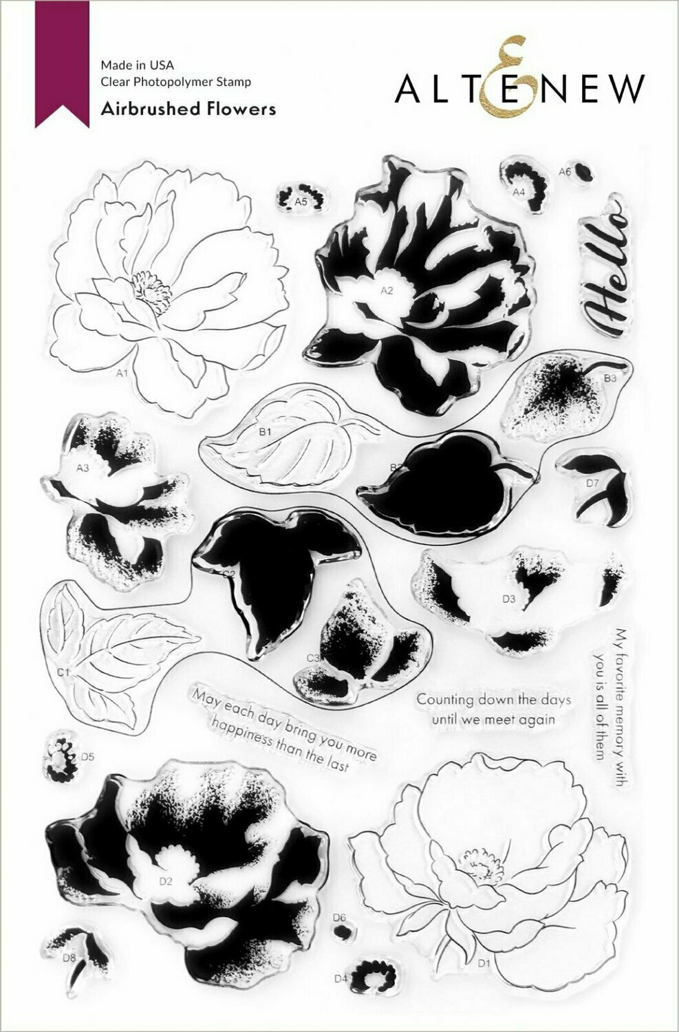 Airbrushed Flowers Stamp Set and mask Stencil combo by Altenew