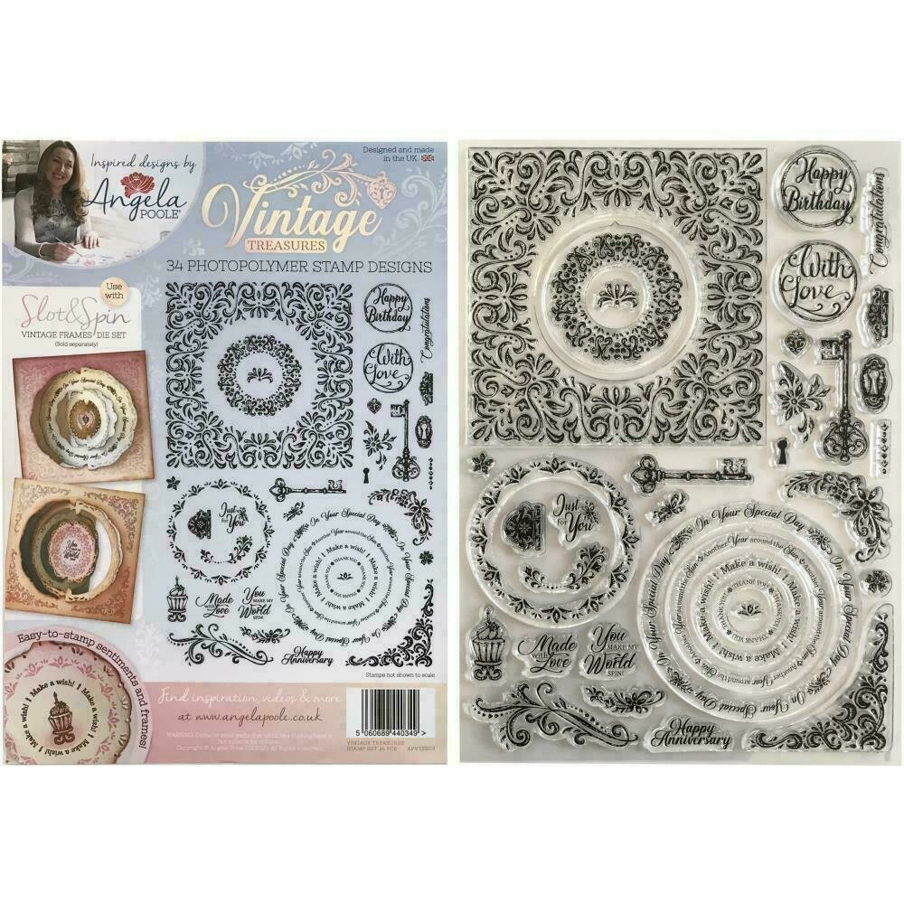 Angela Poole A4 Photopolymer Stamp Set Vintage Treasures