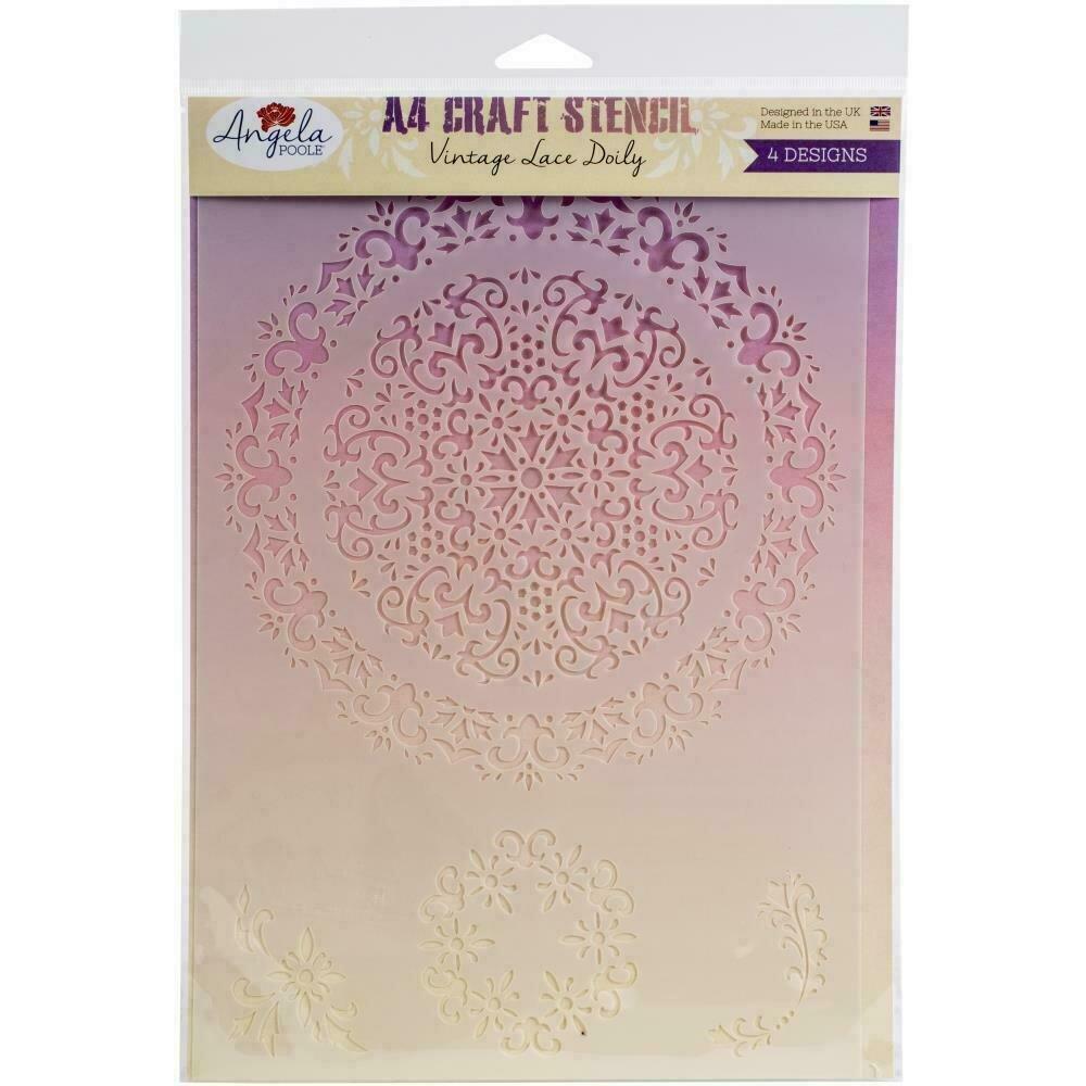 Angela Poole Craft Stencil A4 Vintage Lace Doily