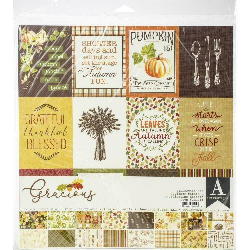 """Authentique Collection Kit 12""""X12"""" Gracious"""