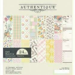 """Authentique Double-Sided Cardstock Pad 6""""X6"""" 24/Pkg Swaddle Girl 8 Designs/3 Each"""