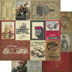 """Authentique Manly Double-Sided Cardstock 12""""X12"""" #7 Multi Size Cut-Apart Cards"""