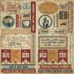 """Authentique Manly Double-Sided Cardstock Die-Cut Sheet 12""""X12"""" Elements"""