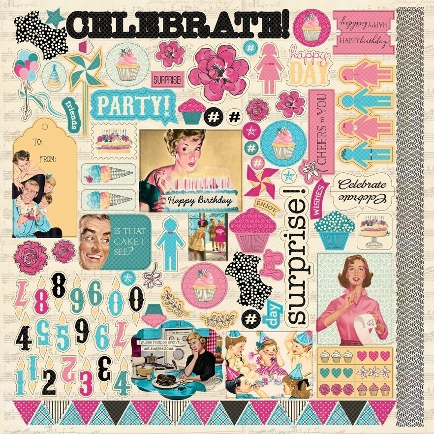 Authentique Party Details 12 x 12 Sticker Sheet