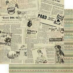 """Authentique Purebred Double-Sided Cardstock 12""""X12""""#2 Newspaper Advertisements"""