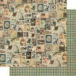 """Authentique Purebred Double-Sided Cardstock 12""""X12""""#6 Vintage Postage Stamps"""