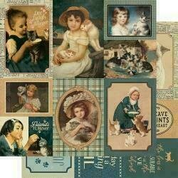"""Authentique Purebred Double-Sided Cardstock 12""""X12"""" #7 Cat Vintage Cut-Aparts"""