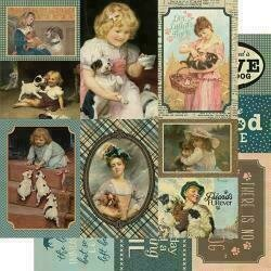 """Authentique Purebred Double-Sided Cardstock 12""""X12""""#8 Dog Vintage Cut-Aparts"""