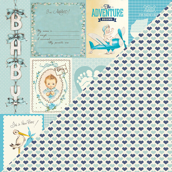"""Authentique Swaddle Boy Double-Sided Cardstock 12""""X12"""" #8"""