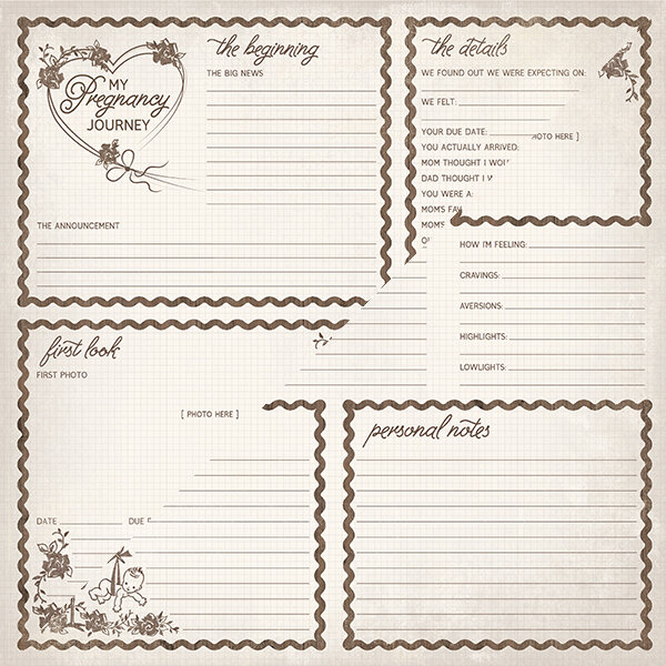 """Authentique Swaddle Double-Sided Cardstock 12""""X12"""" #8 Pregnancy Journal Cut-Aparts"""