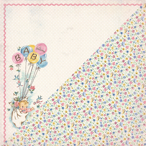 """Authentique Swaddle Girl Double-Sided Cardstock 12""""X12"""" #1"""