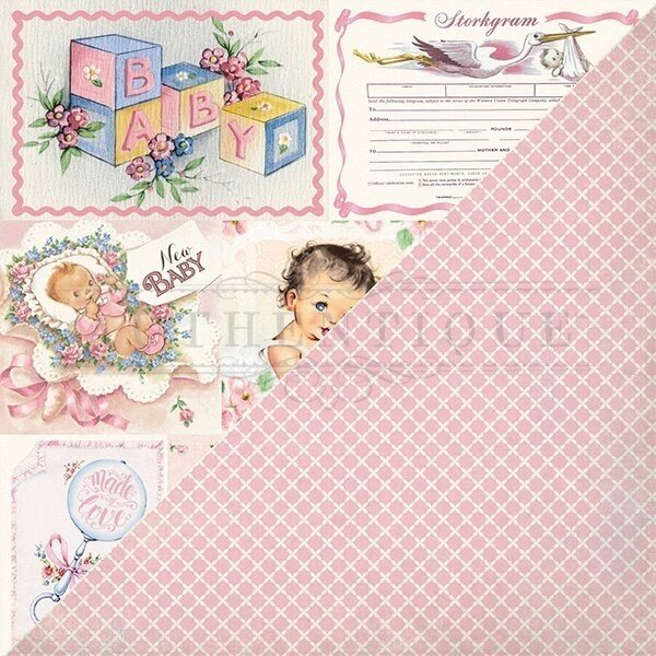 """Authentique Swaddle Girl Double-Sided Cardstock 12""""X12"""" #7"""