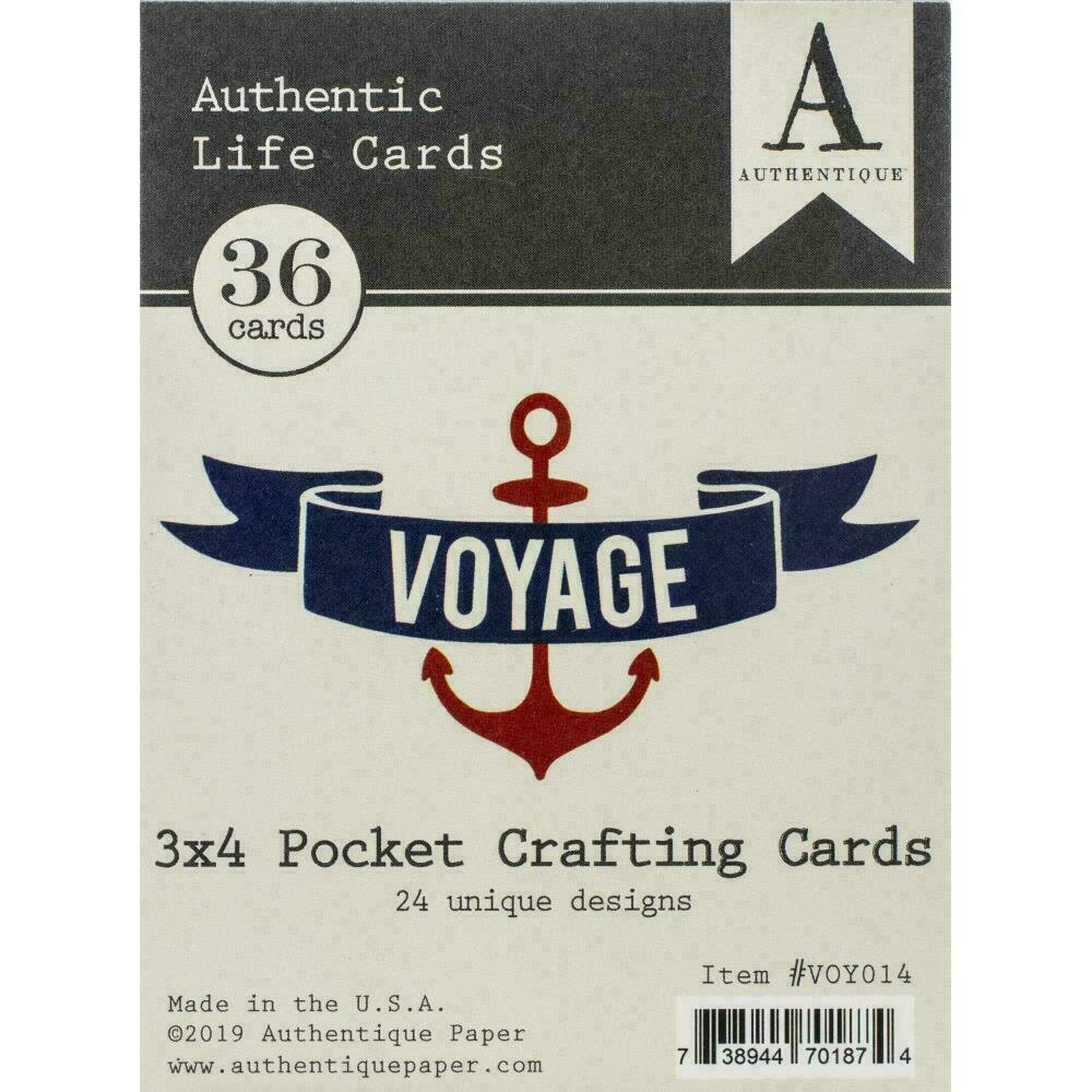 """Authentique Voyage Life Cards 36/Pkg 3""""X4"""" Pocket Crafting & Journaling Cards"""