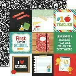 """Back To School 12""""X12"""" Cardstock 4""""X4"""" Journaling Cards"""