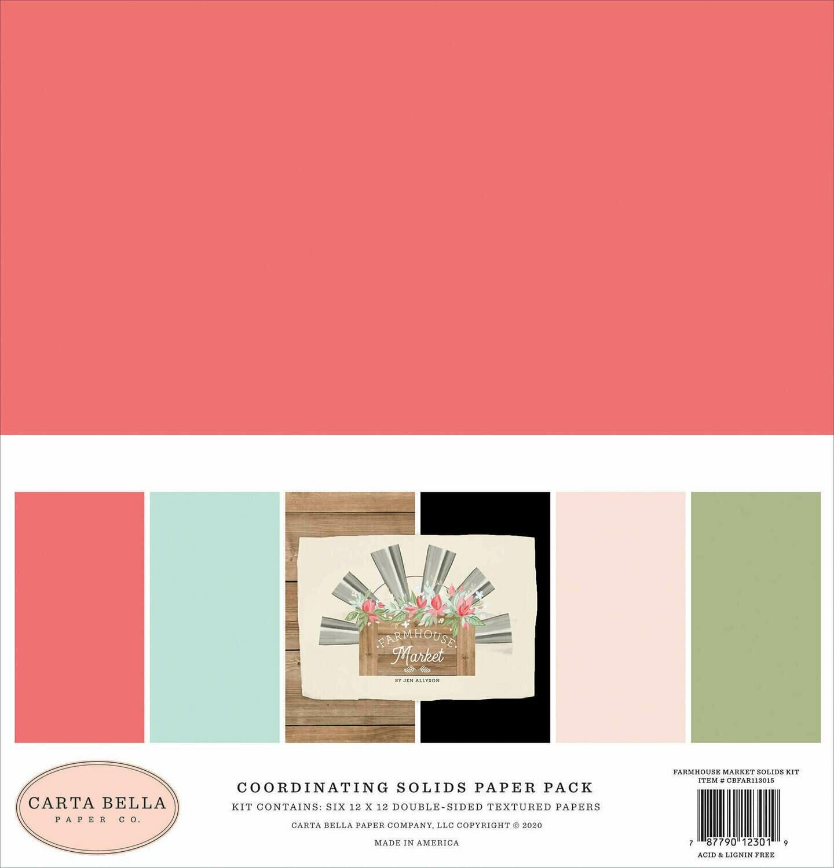 "Carta Bella Double-Sided Solid Cardstock 12""X12"" 6/Pkg Farmhouse Market 6 Colors"