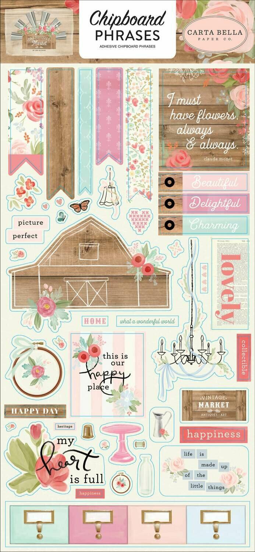 "Carta Bella Farmhouse Market Chipboard 6""X13"" Phrases"