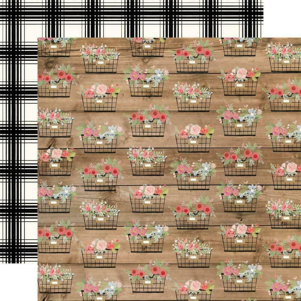 "Carta Bella Farmhouse Market Double-Sided Cardstock 12""X12""  Baskets"