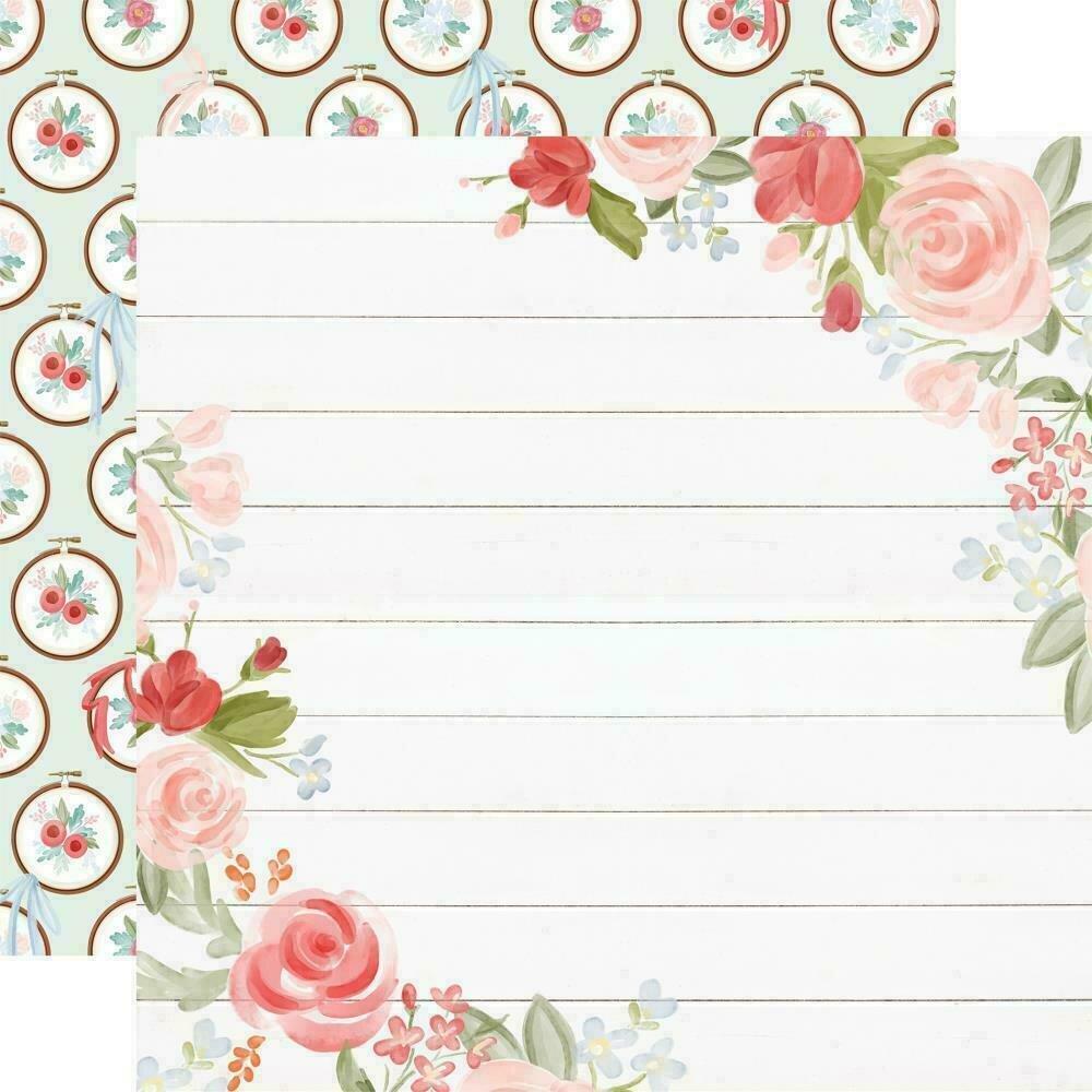 "Carta Bella Farmhouse Market Double-Sided Cardstock 12""X12""  Floral Corners"