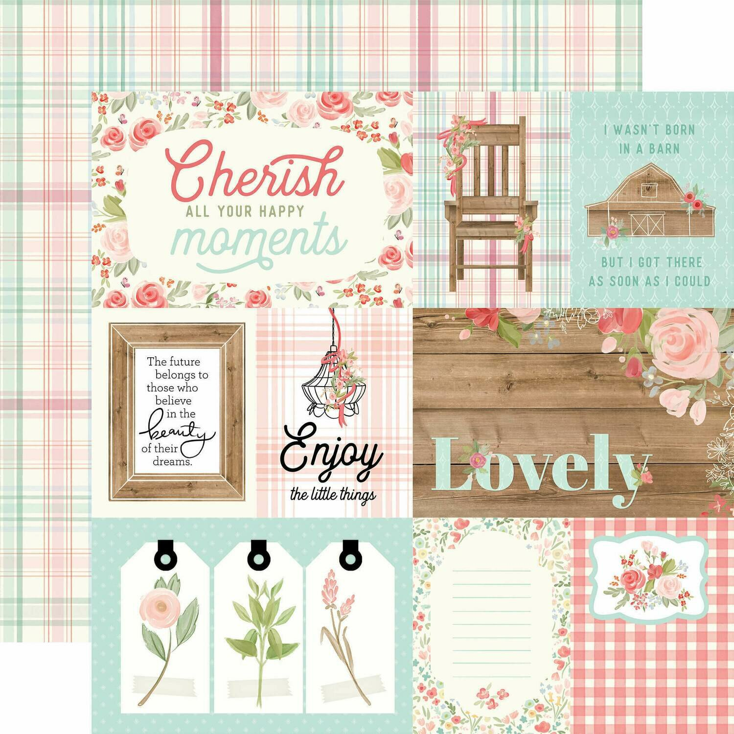 """Carta Bella Farmhouse Market Double-Sided Cardstock 12""""X12""""  """" Journaling Cards"""