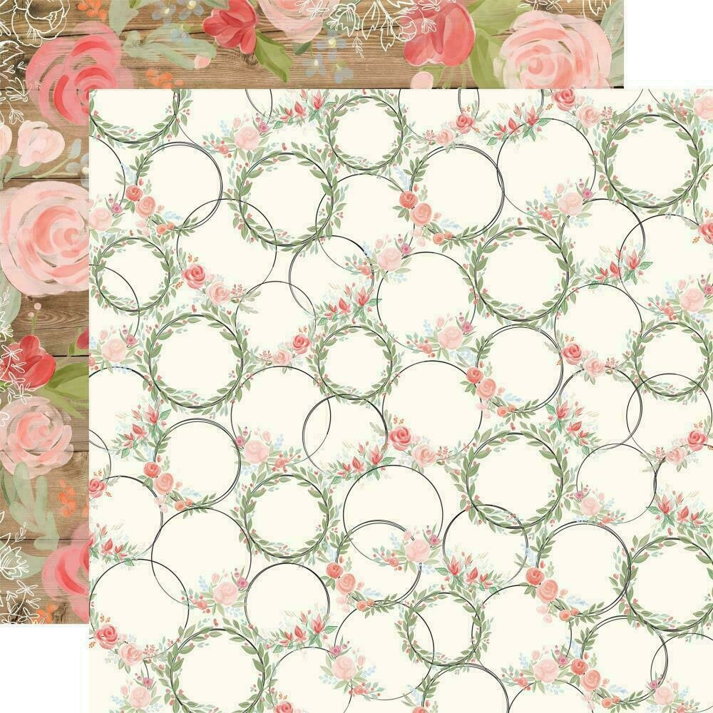 "Carta Bella Farmhouse Market Double-Sided Cardstock 12""X12""  Wreaths"