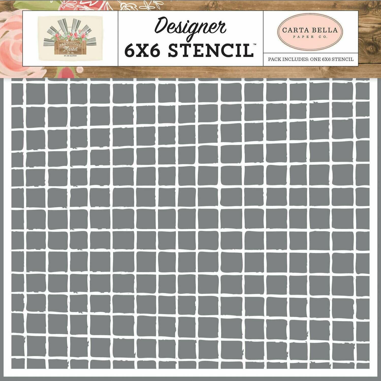 "Carta Bella Stencil 6""X6"" Vintage Grid Farmhouse Market"