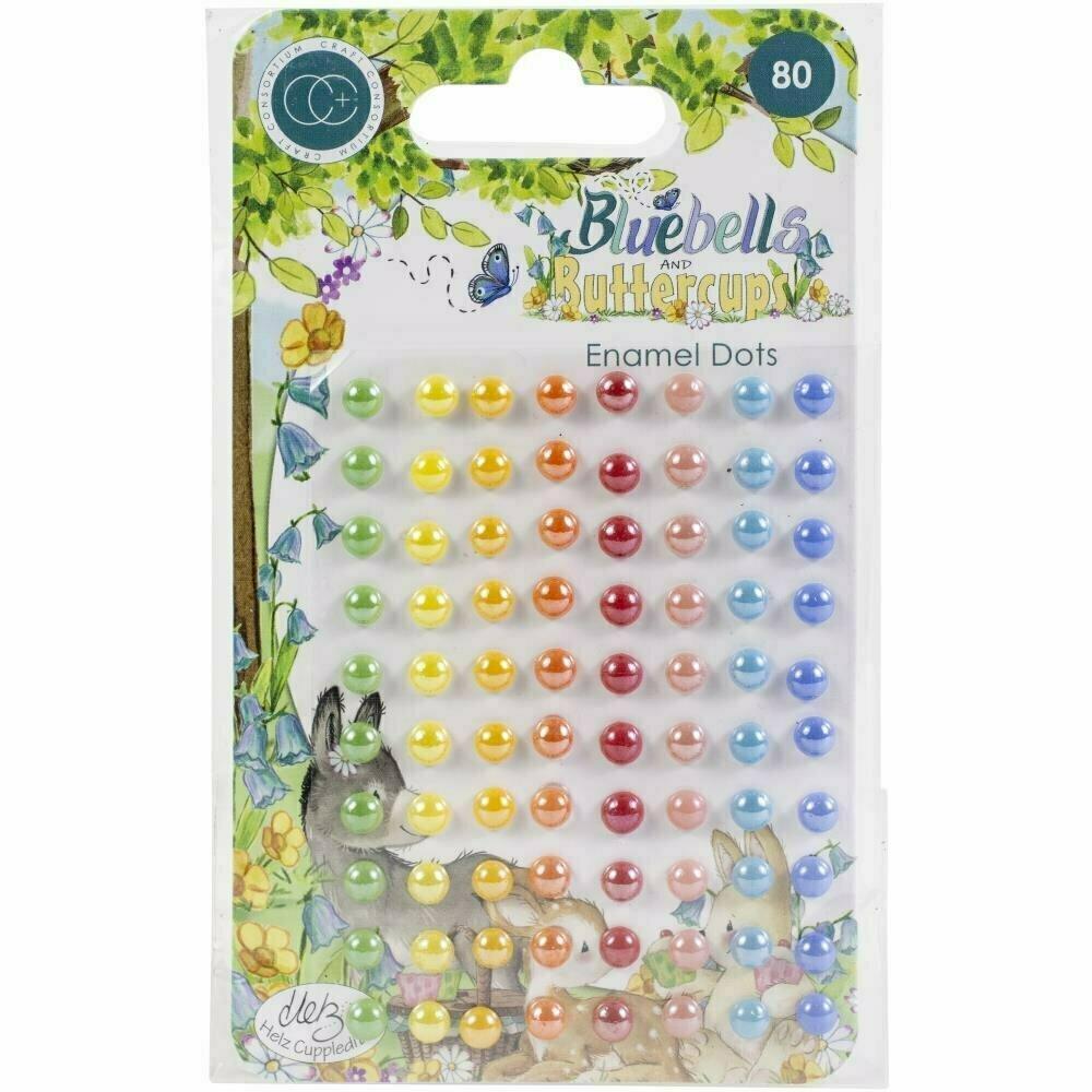 Craft Consortium Adhesive Enamel Dots 80/Pkg Bluebells & Buttercups