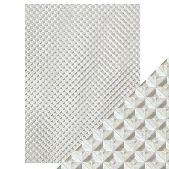 Craft Perfect - Hand Crafted Cotton Paper - Silver Chequer - A4(5/PK)