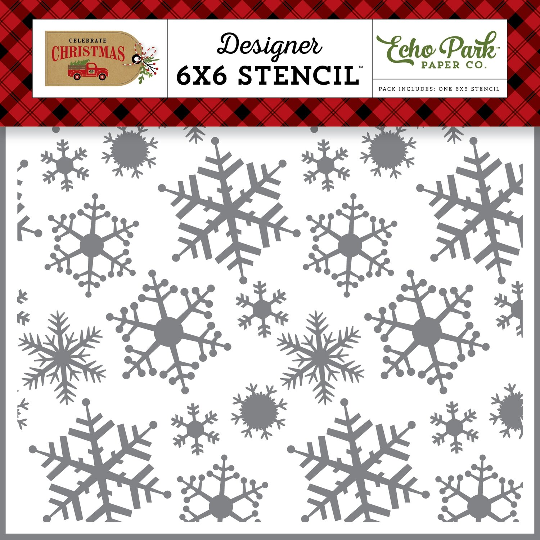 Echo Park Celebrate Christmas MAGIC SNOWFALL 6X6 STENCIL