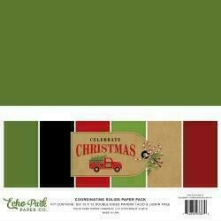 """Echo Park Double-Sided Solid Cardstock 12""""X12"""" 6/Pkg Celebrate Christmas"""